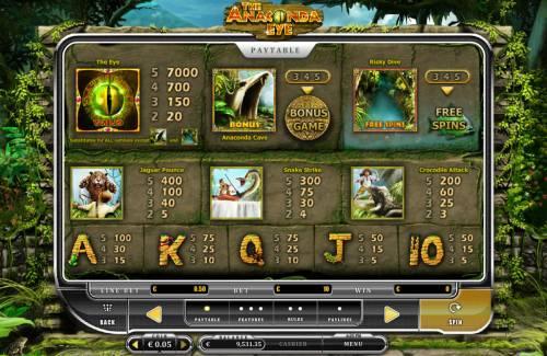 The Anaconda Eye Big Bonus Slots Paytable