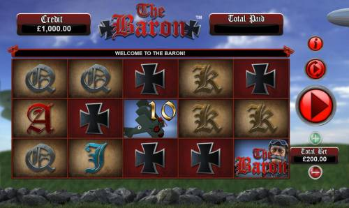 The Baron Big Bonus Slots Main game board featuring five reels and 20 paylines with a $50,000 max payout.
