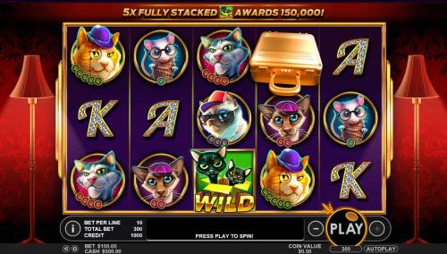 The Catfather part II Big Bonus Slots A frisky feline themed main game board featuring five reels and 30 paylines with a $25,000 max payout