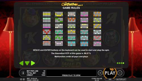 The Catfather part II Big Bonus Slots Payline Diagrams 1-25. The theoretical RTP of this game is 96.07%