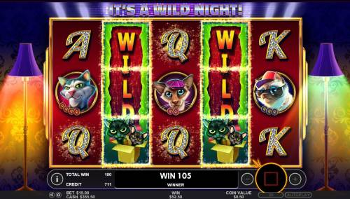 The Catfather part II Big Bonus Slots A pair of Random Stacked Wilds leads to a big win during the Free Spins feature.