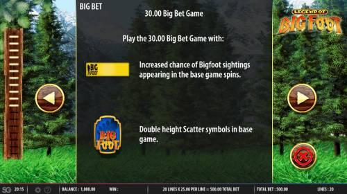 The Legend of Big Foot Big Bonus Slots Big Bet Rules