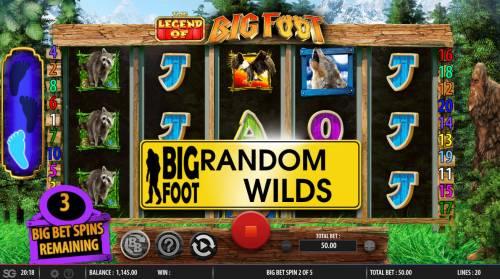 The Legend of Big Foot Big Bonus Slots Random Wilds Triggered