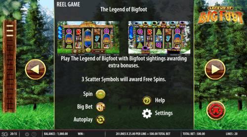 The Legend of Big Foot Big Bonus Slots General Game Rules