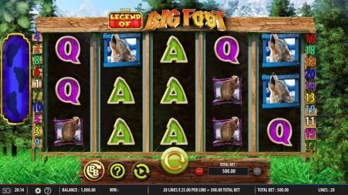 The Legend of Big Foot Big Bonus Slots Main Game Board
