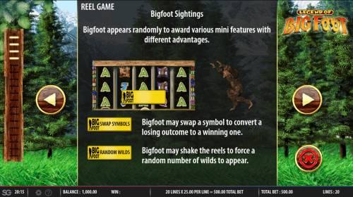 The Legend of Big Foot Big Bonus Slots Feature Rules