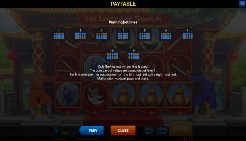 The Legend of Shaolin Big Bonus Slots Paylines 1-9