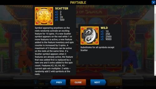 The Legend of Shaolin Big Bonus Slots Wild and Scatter Symbol Rules