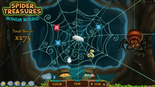 The Magical Forest Big Bonus Slots Game play ends when a worm is revealed