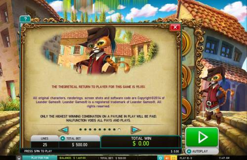 The Master Cat Big Bonus Slots General Game Rules - The theoretical average return to player (RTP) is 95.05%.