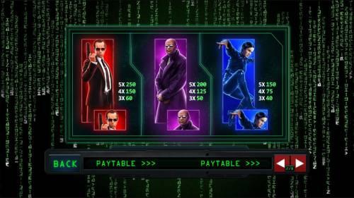 The Matrix Big Bonus Slots High value slot game symbols paytable