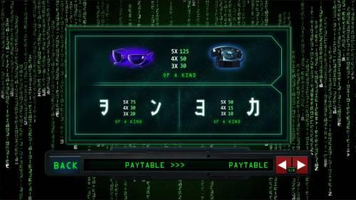 The Matrix Big Bonus Slots Low value game symbols paytable