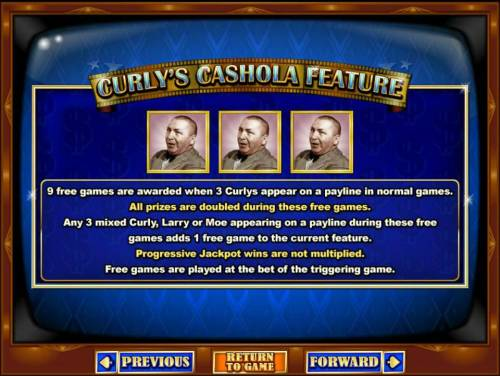 The Three Stooges II Big Bonus Slots Curlys Cashola Feature is triggered when 3 Curlys appear on a payline in normal games awards 9 free games.