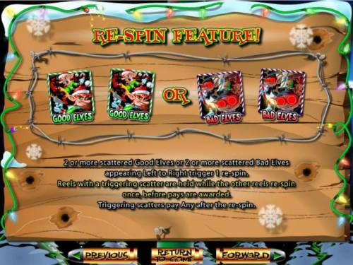 The Elf Wars Big Bonus Slots Re-Spin Feature rules