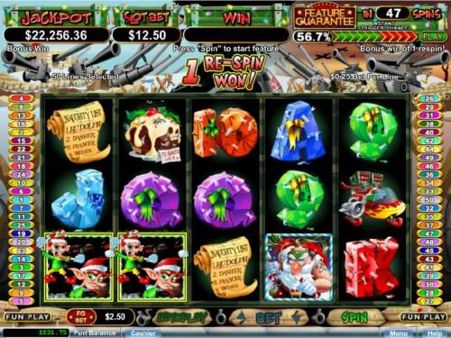 The Elf Wars Big Bonus Slots a couple of scatter symbols triggers 1 re-spin awarded