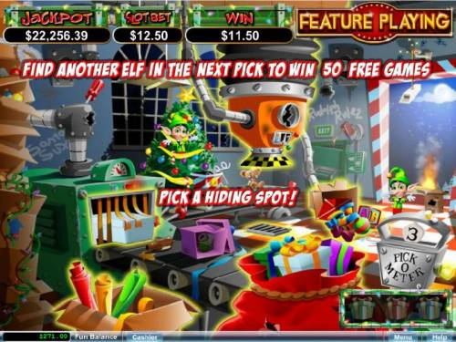 The Elf Wars Big Bonus Slots Find three elfs in the first 3 picks and win 50 free games