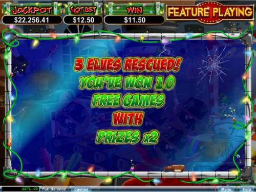 The Elf Wars Big Bonus Slots 10 free spins with an 2x mulplier awarded