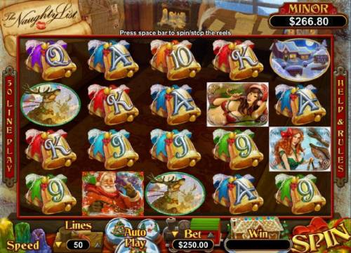 The Naughty List Big Bonus Slots Main game board featuring five reels and 50 paylines with a $125,000 max payout