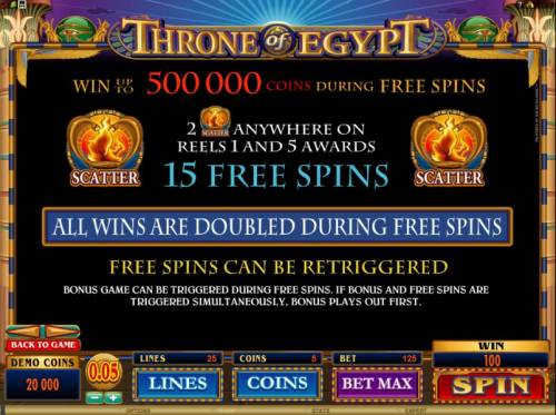Throne of Egypt Big Bonus Slots 2 scatter symbols anywhere on reels 1 and 5 awards 15 free spins