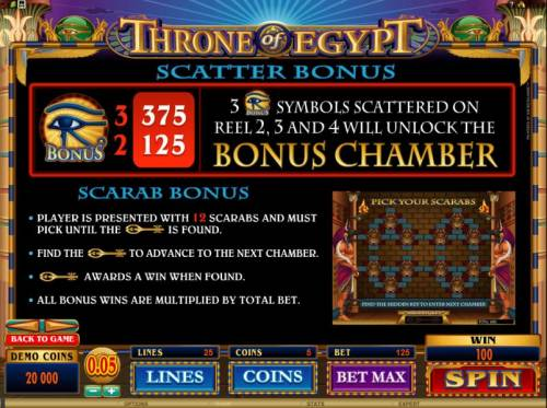 Throne of Egypt Big Bonus Slots 3 bonus symbols scattered on reels 2, 3 and 4 will unlock the bonus chamber