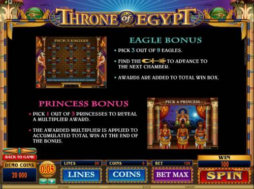 Throne of Egypt Big Bonus Slots eagle bonus and princess bonus rules
