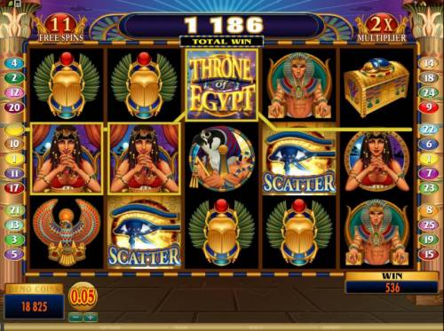 Throne of Egypt Big Bonus Slots here we have an example of a 536 coin jackpot