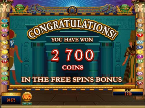 Throne of Egypt Big Bonus Slots the free spins bonus feature paid out a whooping 2700 coins