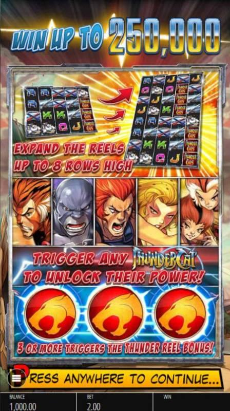 Thundercats review on Big Bonus Slots