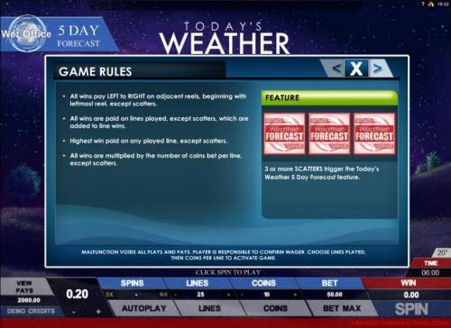 Today's Weather review on Big Bonus Slots
