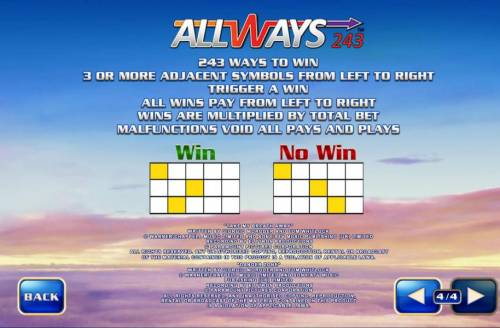 Top Gun Big Bonus Slots Allways 243 - 243 ways to win 3 or more adjacent symbols from left to right trigger a win. All wins pay from left to right. Wins are multiplied by total bet.