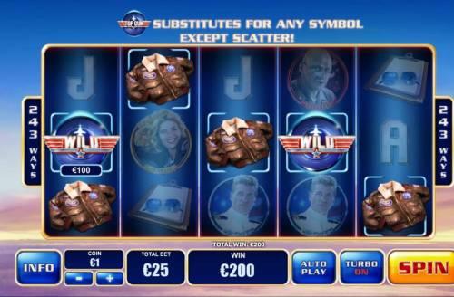 Top Gun Big Bonus Slots Multiple winning combinations triggers a 200.00 payout