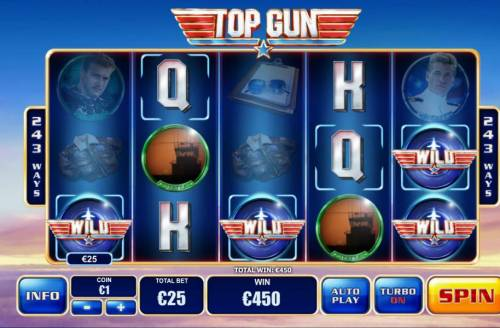 Top Gun Big Bonus Slots Dogfight Wilds lead to multiple winning combinations and a 450.00 big win