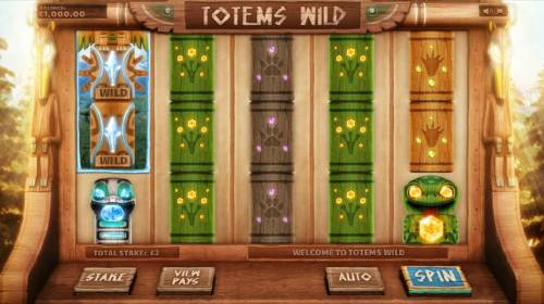 Totems Wild Big Bonus Slots main game board featuring five reels and twenty paylines