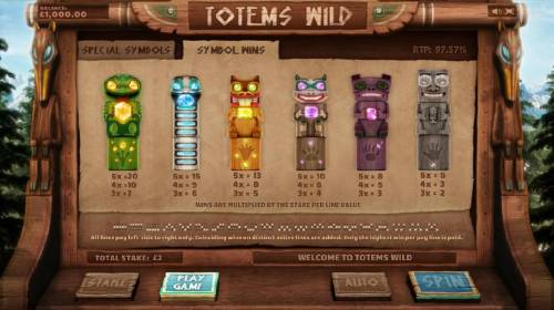 Totems Wild Big Bonus Slots slot game symbols paytable