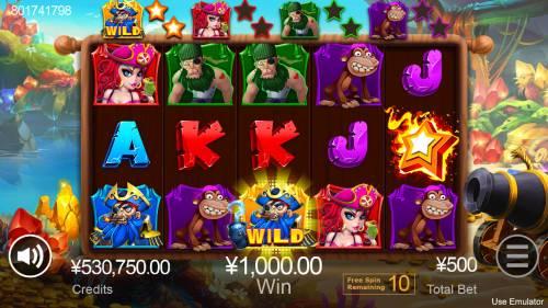 Treasure Island Big Bonus Slots Free Spins Game Board