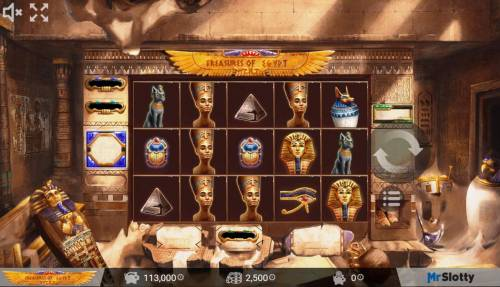 Treasures of Egypt Big Bonus Slots Main game board featuring five reels and 25 paylines with a $200,000 max payout.