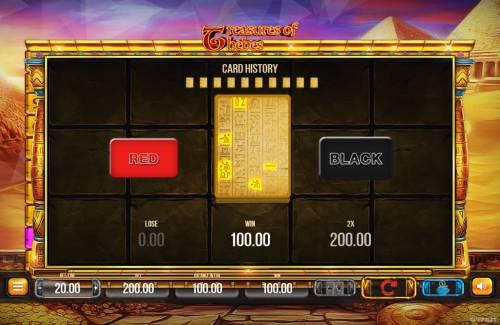 Treasures of Thebes Big Bonus Slots Red or Black Gamble feature