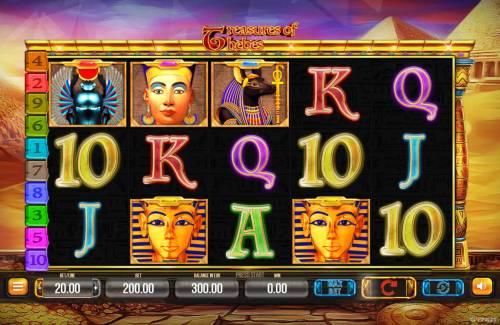 Treasures of Thebes Big Bonus Slots Main Game Board