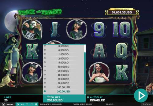 Trick or Treat Big Bonus Slots Betting Options
