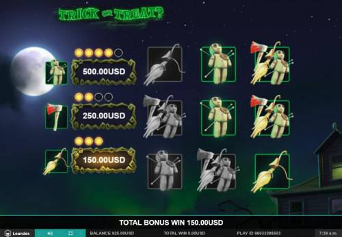 Trick or Treat Big Bonus Slots Bonus feature pays out a total of 150 coins