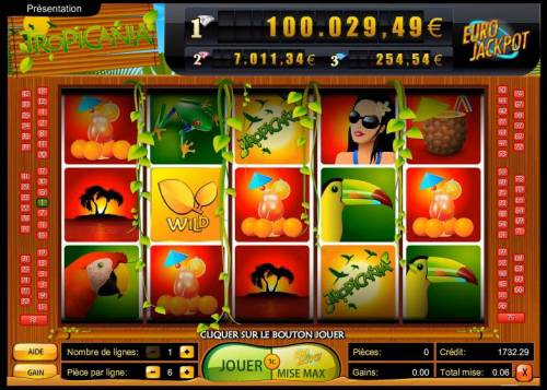 Tropicania Big Bonus Slots main game board featuring five reels and 75 paylines