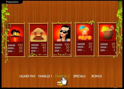 Tropicania Big Bonus Slots slot game symbols paytable continued