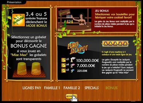 Tropicania Big Bonus Slots bonus game and euro jackpot rules