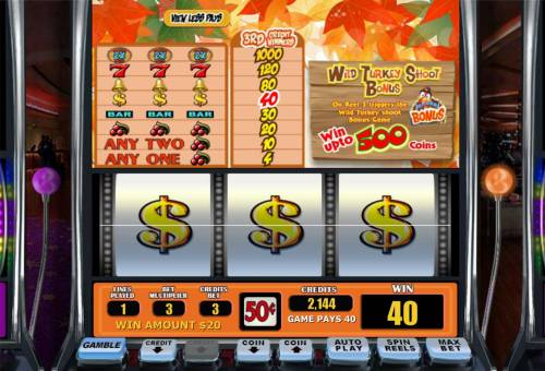 Turkey Shoot Wild X review on Big Bonus Slots