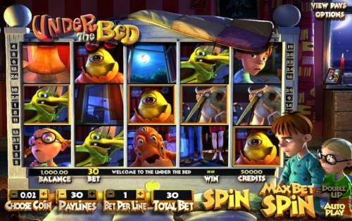 Under The Bed Big Bonus Slots main game board featuring five reels and thrity paylines