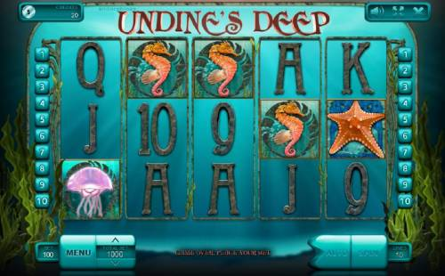 Undine's Deep Big Bonus Slots Main game board featuring five reels and 10 paylines with a $900,000 max payout. An underwater adventure themed slot featuring various sea life and a mermaid.