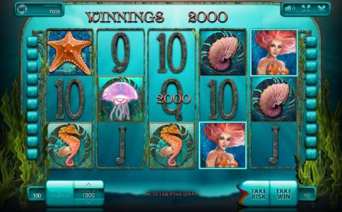 Undine's Deep Big Bonus Slots A pair of scatter symbols triggers a 2000 coin big win