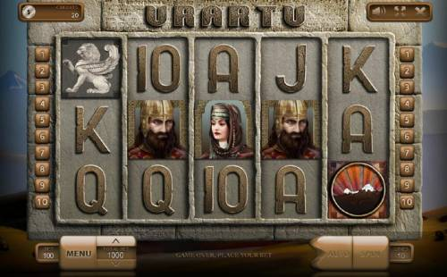Urartu Big Bonus Slots Main game board featuring five reels and 10 paylines with a $900,000 max payout