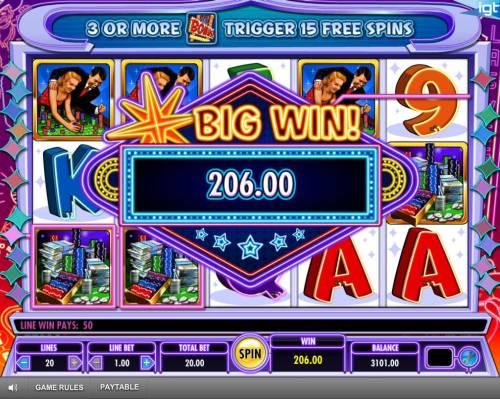 Vegas, Baby! Big Bonus Slots A 206.00 Big Win