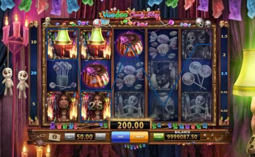 Voodoo Candy Shop Big Bonus Slots Multiple winning paylines triggers a 200.00 big win!